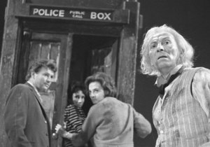 The First Doctor and his companions make a hasty escape in An Unearthly Child.