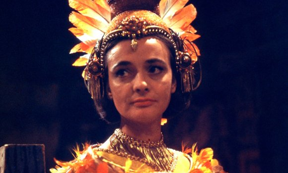 Yetaxa in all her finery as Barbara masquerades in The Aztecs