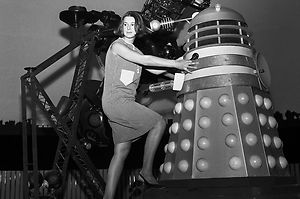 "Producer of Doctor Who, Verity Lambert, pictured with a parabolic disc Dalek. These Daleks were only ever seen in ""The Dalek Invasion of Earth""."