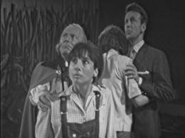 The frightened Tardis Crew are smaller than painted blades of grass