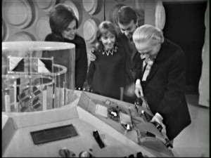 "Barbara, Vicki, Ian and the Doctor safely in the Tardis at ""The Rescue's"" end"