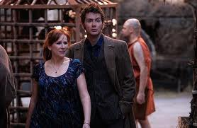 "The Tenth Doctor and companion Donna in ""The Fires of Pompeii"""