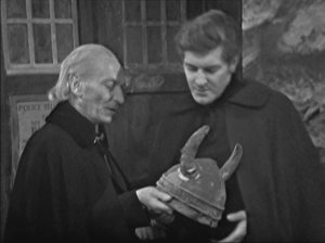 "The Doctor, Steven and the  Viking helmet which isn't a ""space helmet for a cow"""