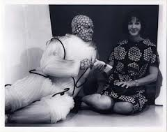 A press photo of Doctor Who producer, Verity Lambert, with one of the Daleks' allies, Malpha