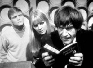 Ben, Polly and the new Doctor with his 500 Year Diary