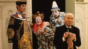 At last a story with some colour photographs!  The Toymaker, clowns and the Doctor