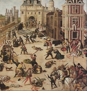 A painting by Francois Dobois depicting the St. Bartholomew's Day Massacre.  Paintings such as these were used to represent the Massacre in the Doctor Who serial