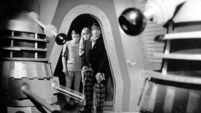 The Doctor, Polly and Ben are confronted by Daleks in The Power of the Daleks