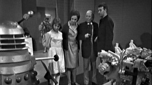 The Tardis Crew examine the Dalek exhibit.  Barbara lucked out in the costume department