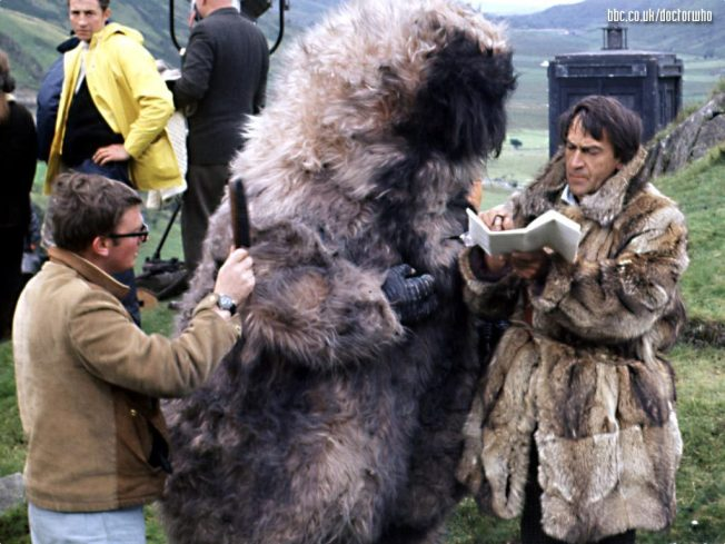 Patrick Troughton on the set of The Abominable Snowmen