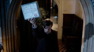 The Eleventh Doctor shows the Great Intelligence a map of the London Underground in The Snowmen