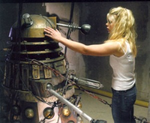 Rose Tyler comforts a Dalek in the 2005 episode Dalek, thereby transferring some of her DNA to it