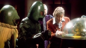 Sonny Caldinez subsequently appeared as an Ice Warrior in four Classic Series stories.  He's seen here with the Third Doctor and Alpha Centauri in The Monster of Peladon (1974)
