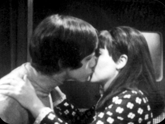Jamie gets a kiss from Samantha in The Faceless Ones
