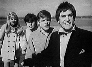 The four members of the Tardis Crew before they scatter at Gatwick Airport in The Faceless Ones