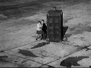 The Tardis lands on the runway of Gatwick Airport