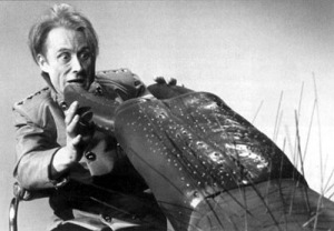 A publicity shot of the Controller and Macra taken prior to filming.  Note that the Controller's hair and make up is different from the Australian Censors saved film clip