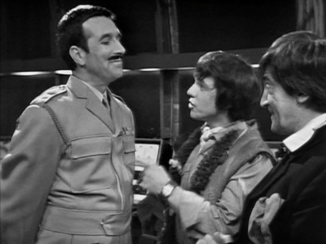 The Brigadier proudly informs the Doctor and Jamie that he's been promoted since last they met