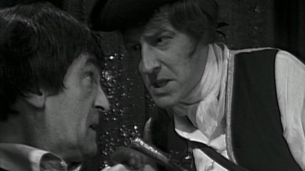 The Doctor is initially menaced by Gulliver