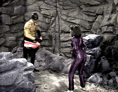 Zoe fights the Karkus in her famous catsuit