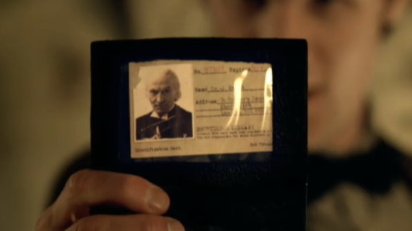The Eleventh Doctor shows his library card bearing the name and photo of Dr John Smith in The Vampires of Venice (2010)