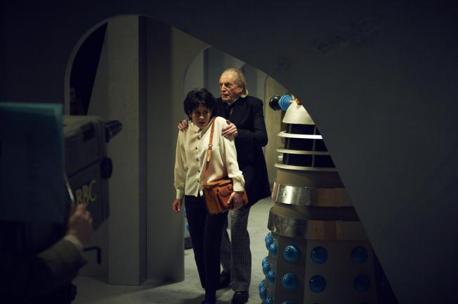 Claudia Grant and David Bradley in the recreation of a scene of the first Dalek story, The Daleks