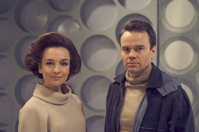 Jemma Powell as Jacqueline Hill (Barbara Wright) and Jamie Glover as William Russell (Ian Chesterton)