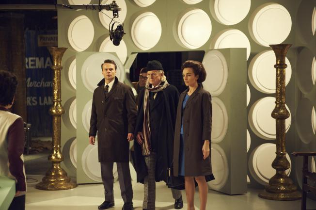Jamie Glover, David Bradley and Jemma Powell as Ian, the Doctor and Barbara
