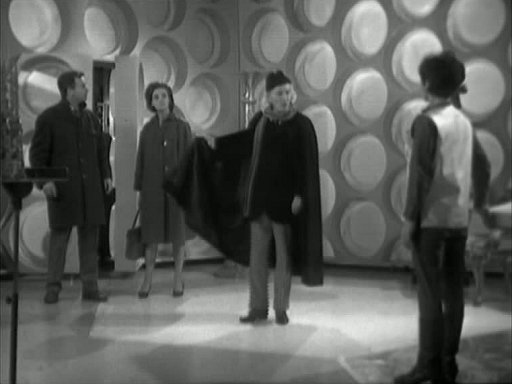 The Doctor and Susan with the unwilling companions, Barbara and Ian
