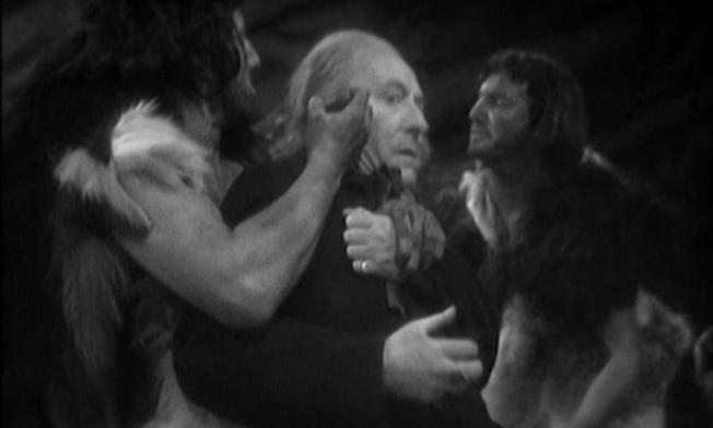 The Doctor is at the mercy of cavemen in An Unearthly Child