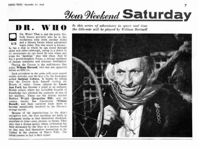 The first article published by the Radio Times on Doctor Who discussed the exciting new adventure series starring William Hartnell
