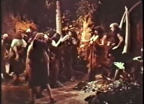 The clan of cavemen, in wonderful Technicolor, from It's About Time