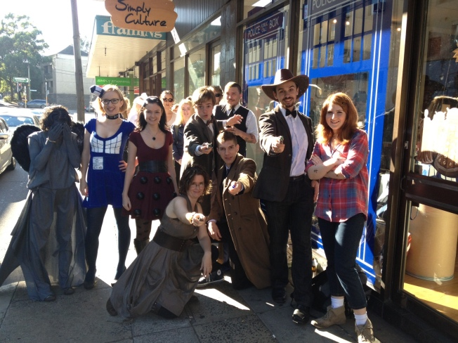Doctor Who fans in cosplay outside of a Doctor Who Pop-Up Shop