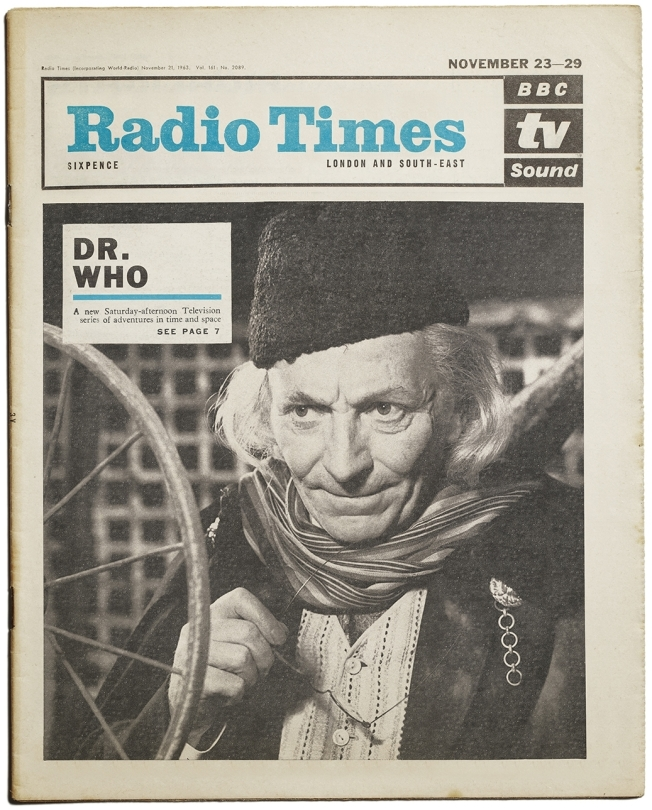 A November 1963 Radio Times announcing the launch of the new series Doctor Who