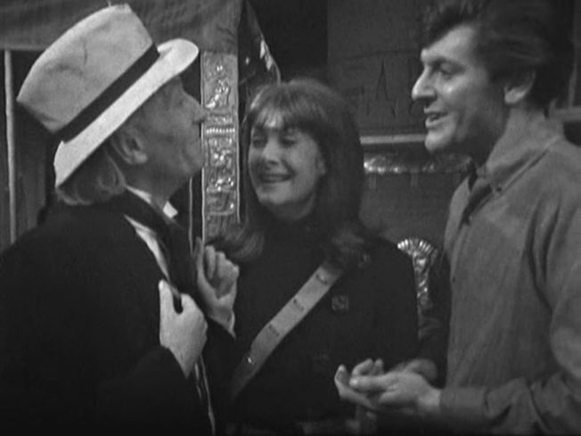 A side view of the hat as the Doctor chats with Steven and the short lived companion Sara Kingdom