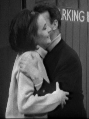 Ian and Barbara embrace on returning to 1965 London in The Chase