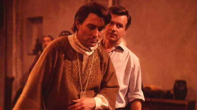 Mark Eden as Marco Polo. Pictured behind him is William Russell as Ian Chesterton.  Both Eden and Russell appear in An Adventure in Space and Time