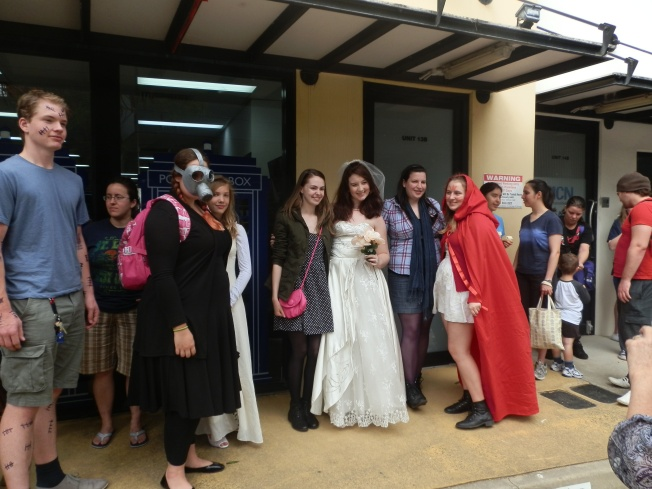 Fans wait outside of the Brisbane Pop Up Shop on 8 October. Hundreds of fans waited up to two hours to gain entry to the shop