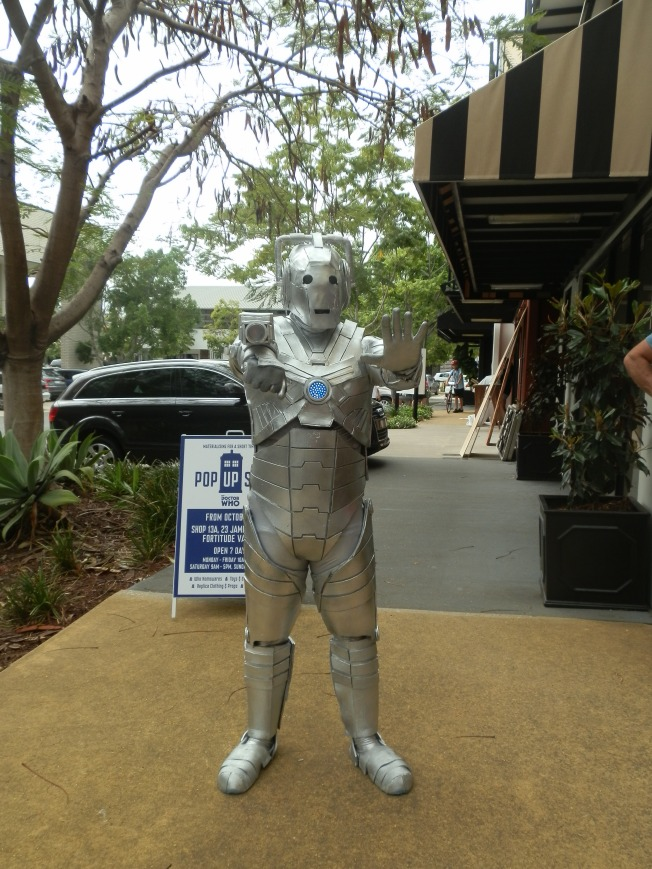 A Cyberman outside of the Brisbane Pop Up Shop on 8 October 2013