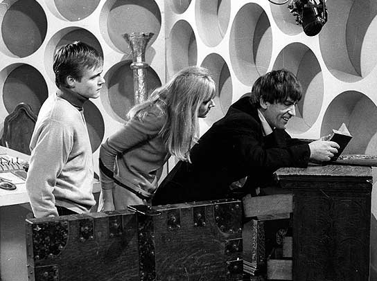 The Doctor, Ben and Polly in the Second Doctor's first adventure, The Power of the Daleks