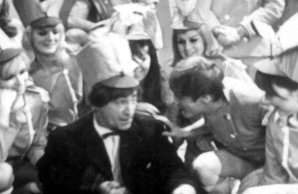 The Doctor in a drum majorette's hat in The Macra Terror
