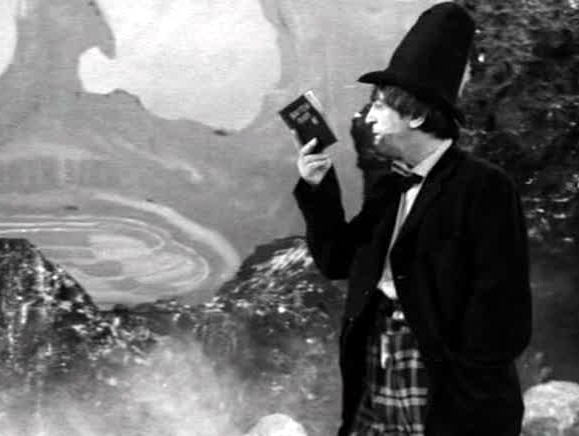 The Doctor wears his stove pipe hat whilst reading his 500 Year Diary in The Power of the Daleks
