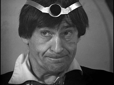 The Doctor wears a strange contraption on his head in The Wheel in Space