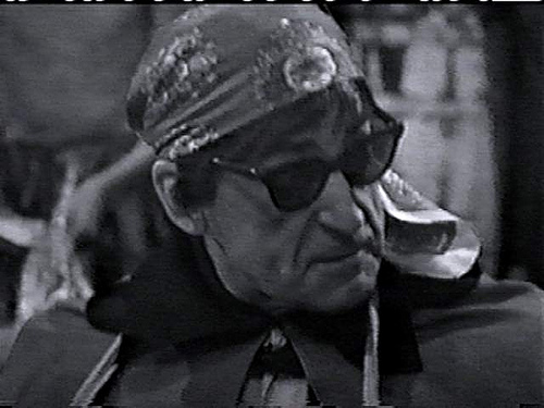 Continuing his tradition for dressing up, the Doctor dons a hippy type bandanna and dark glasses in The Underwater Menace