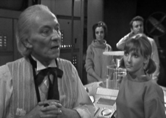 The Daleks are pursuing the Doctor and his crew in their time machine.  The Doctor informs his companions that the Daleks will be closer to them after the next landing