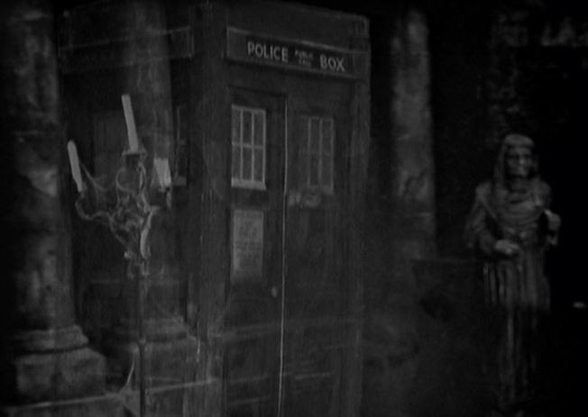 The TARDIS lands in an old mansion of a house.  The Doctor deduces that they are somewhere in Eastern Europe