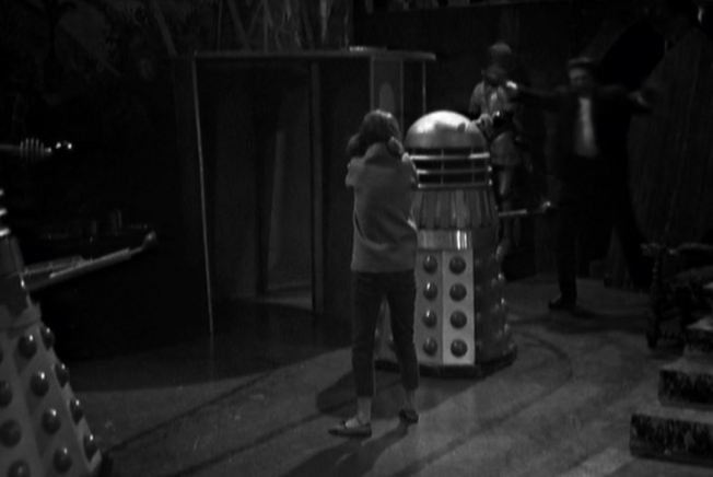 The others depart in the TARDIS leaving Vicki behind