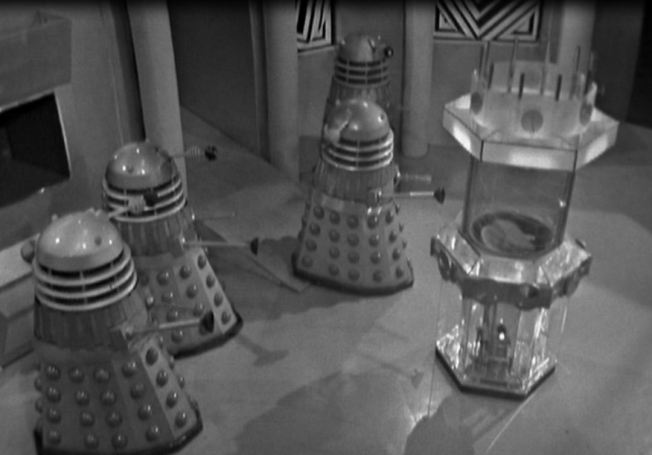 The Daleks wonder where the enemy time machine (the TARDIS) is