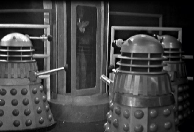 The robotic replica of the Doctor is produced.  The Daleks clearly have bad sight as they believe that the replica is indistinguishable from the original