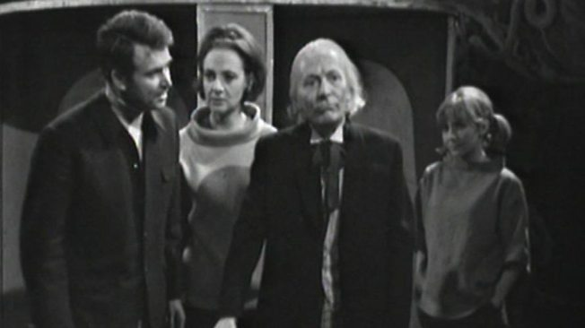 The Doctor and his companions outside of the Dalek time machine in The Chase